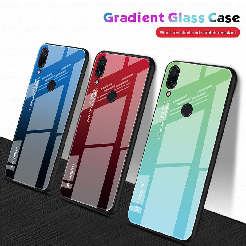 3 19us 30 Off Tempered Glass Case For Xiaomi Redmi Note 8 Pro 7 6 Gradient Colorful Case For Redmi 7 6a 6 Pro 5 Plus K20 Glossy Stained Cover Phone Case Co