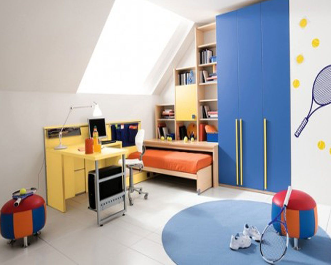 Attic White Kids Boys Bedroom Ideas Pictures With Small Brown Wood Bed Frame That Have Orange Bedding Complete The Wall Shelf Also Simple Yellows
