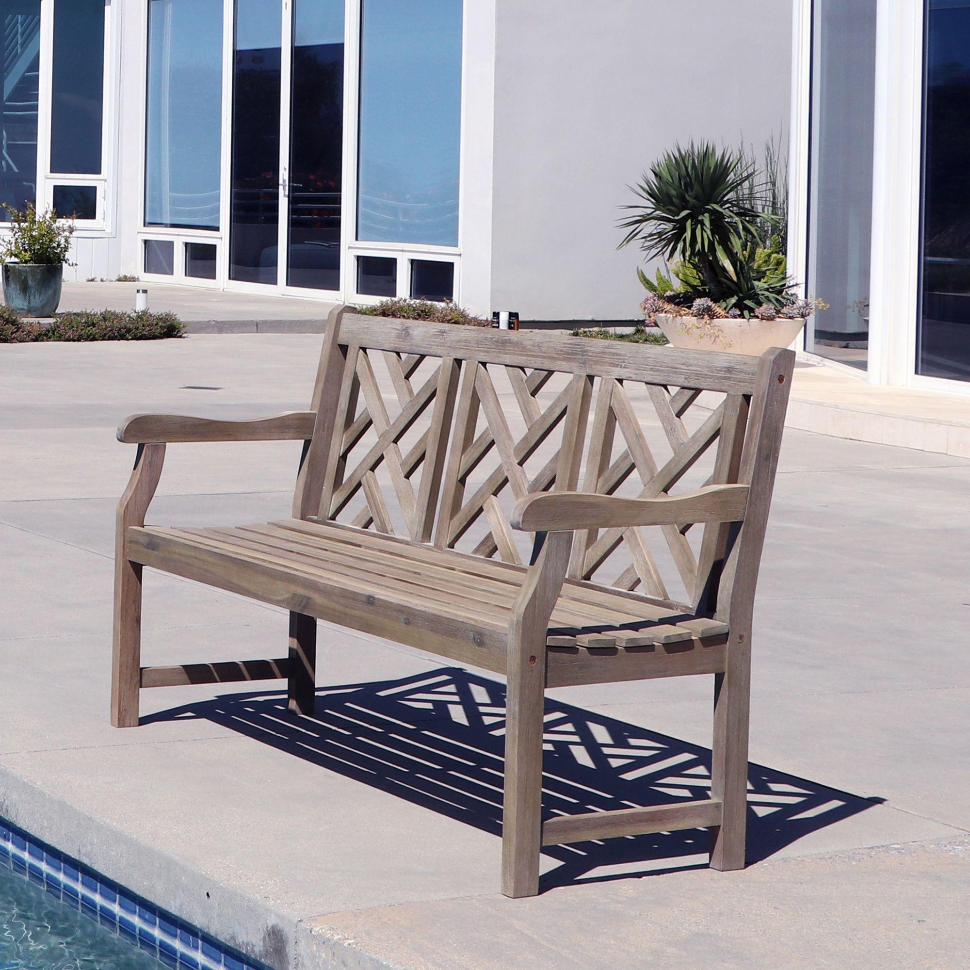 Vifah Patio Furniture.Vifah Comfortable Renaissance Outdoor Hand Scraped Hardwood Bench