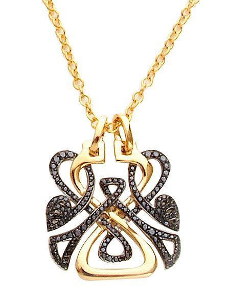 Fine Jewellery gold and black diamond logo pendant. Autumn 2010 sees the much-anticipated relaunch of the globally iconic brand Biba, available exclusively at House of Fraser.