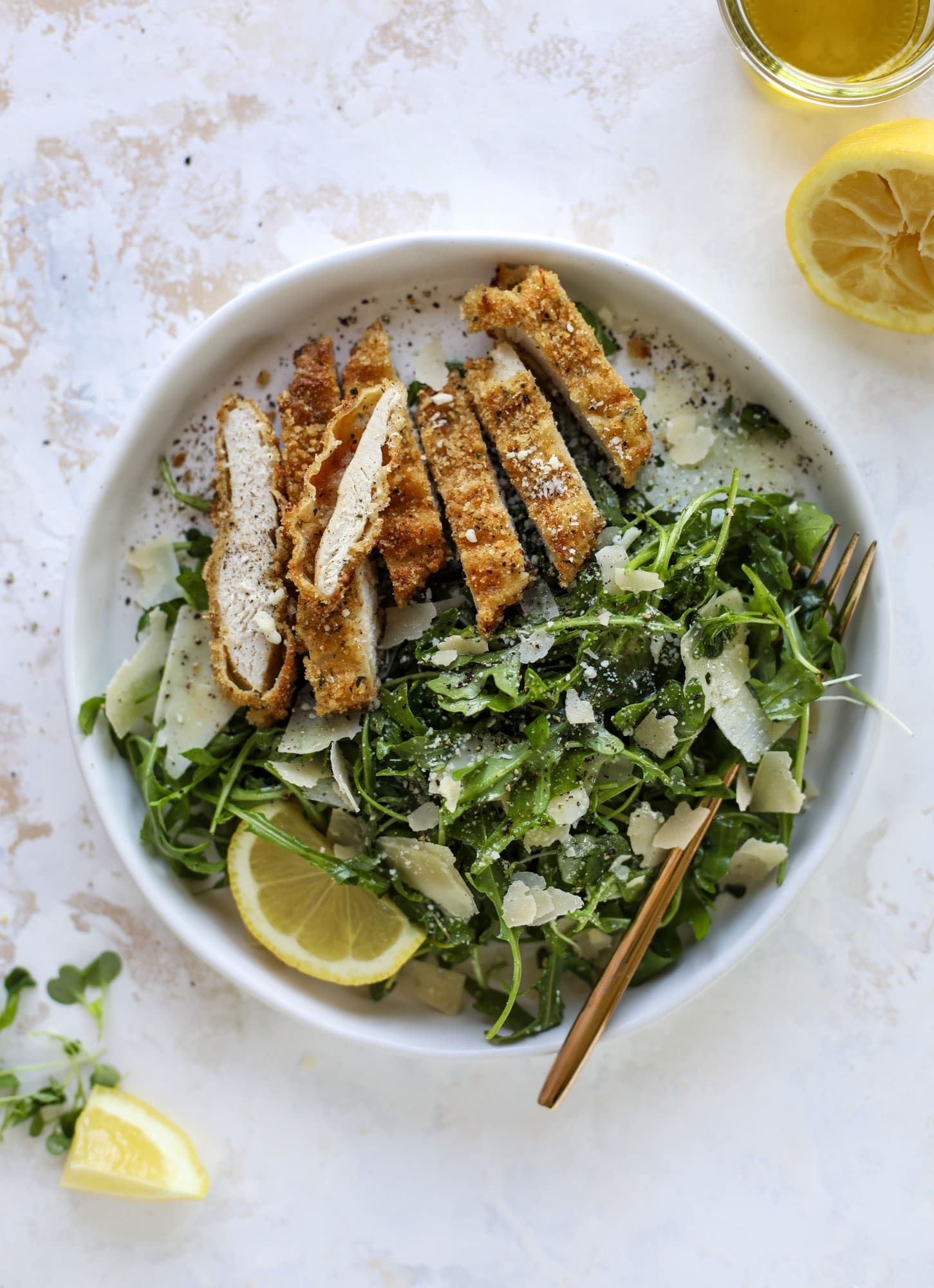 Crispy Baked Parmesan Chicken with Lemon Arugula images