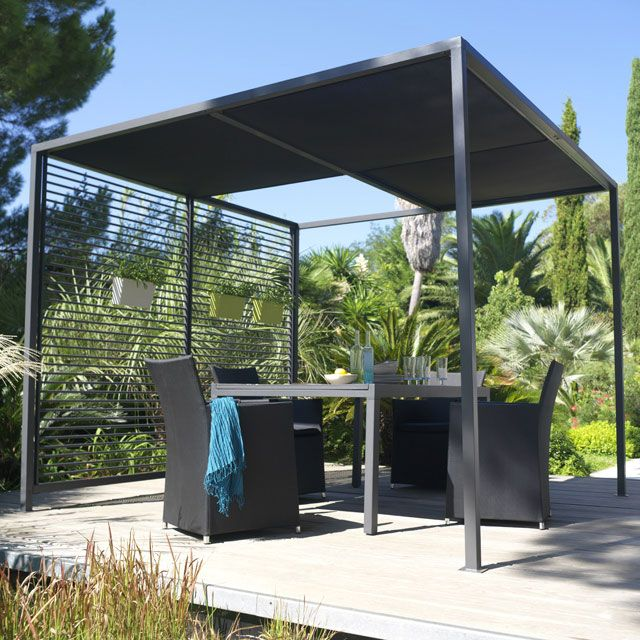 tonnelle moor a 2 8 x 2 8m noir castorama pergola pinterest pergolas. Black Bedroom Furniture Sets. Home Design Ideas
