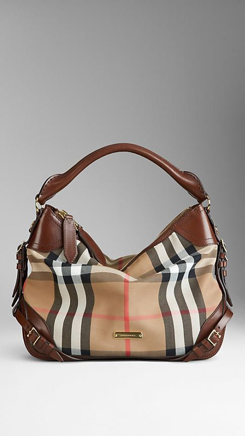 d4fbb9f3aab6 The burberry bag. Small Bridle House Check Hobo ...
