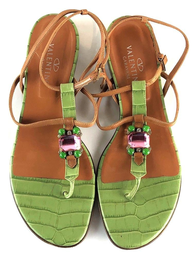 42de47824cec3e Valentino Garavani Women s Bejeweled Sandals SIZE 41 Made in Italy Used  With Bag  fashion