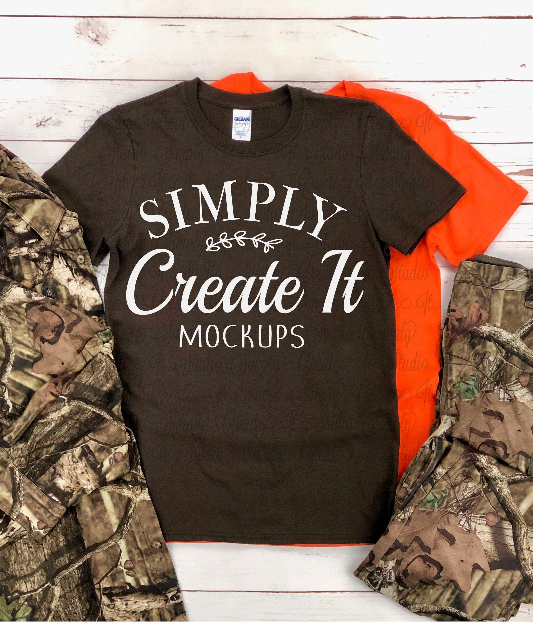 Gildan Brown 64000 Men's Camo mockup, 64000 Orange, Gildan 64000, mockup, t-shirt mockup, Flat Lay mockup, Gildan, Brown unisex adult shirt