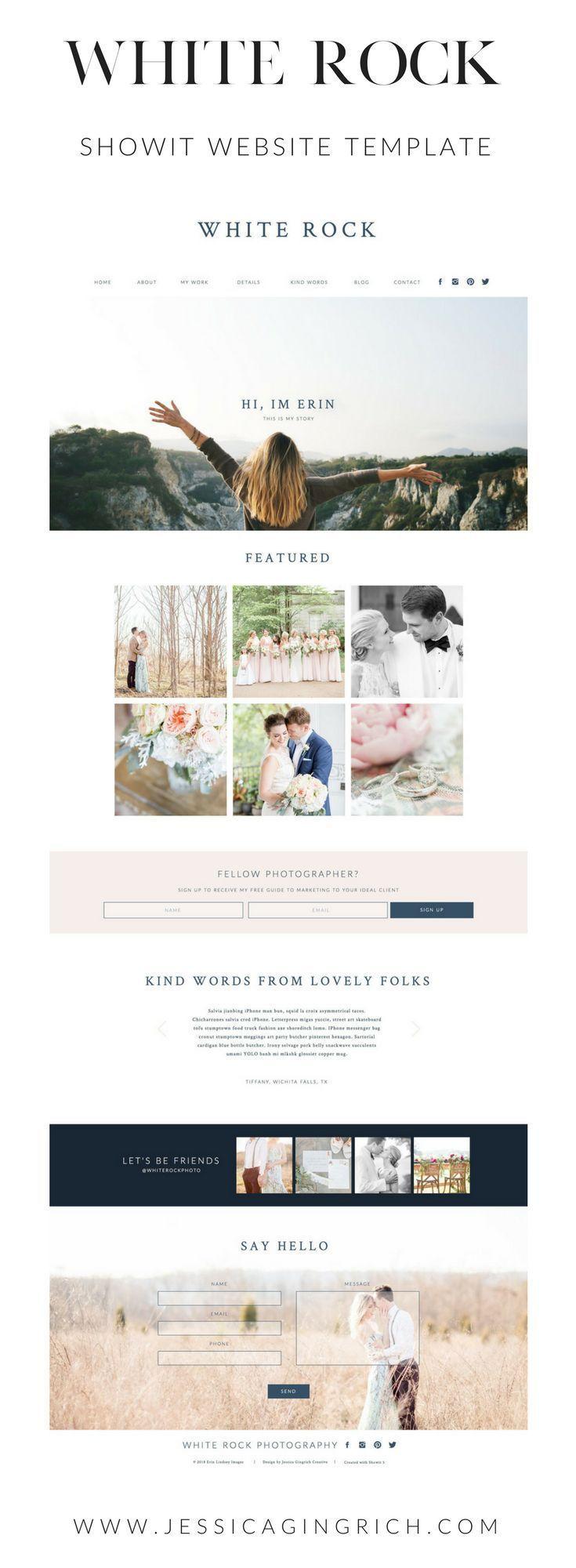 White Rock Showit Website Template Website Design For Creative Entrepreneurs And Photog Photography Website Design Photographer Website Website Design Layout