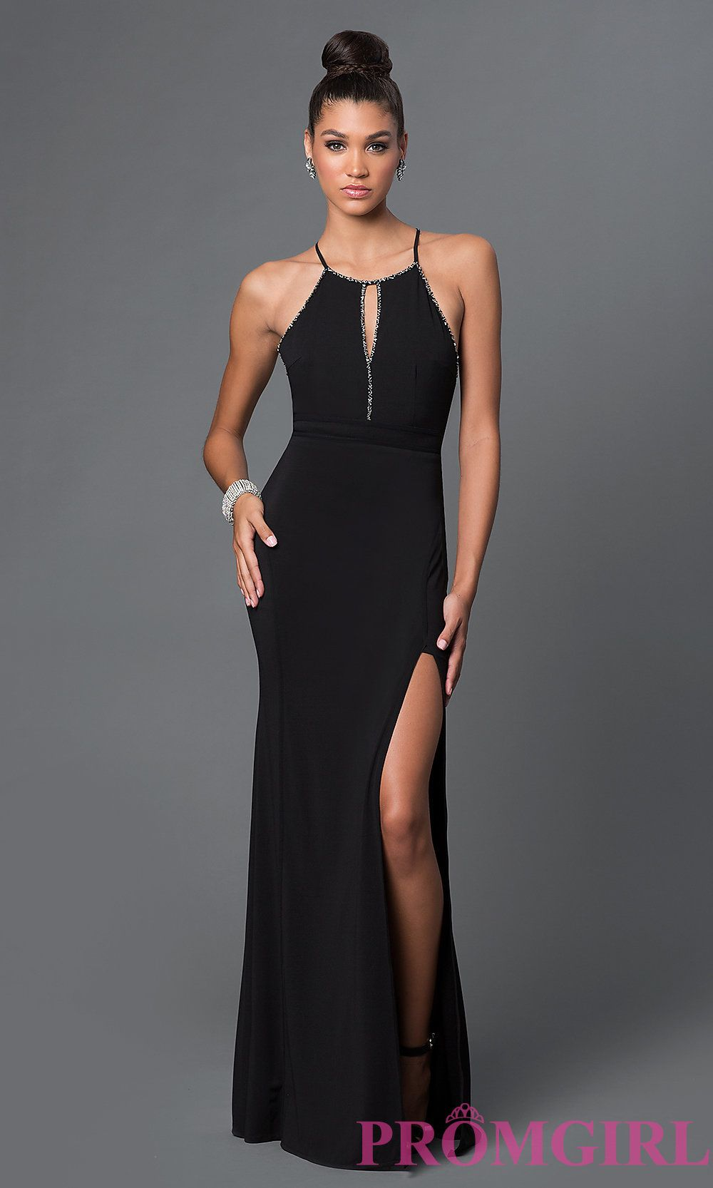 d81027ea Image of floor length sleeveless glitter details open back side slit back  bow black dress Front Image