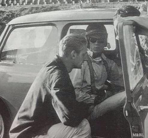 Steve Mcqueen At The Wheel Of John Whitmores Mini Brands Hatch