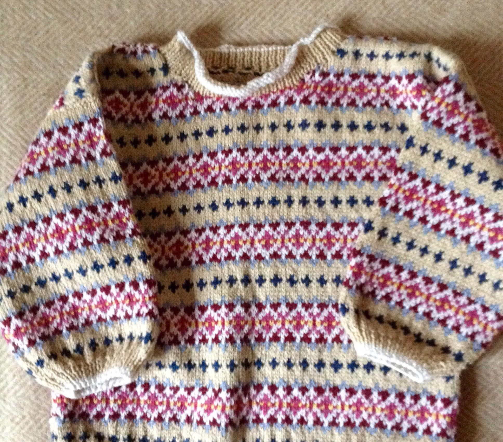 Fairisle jumper knitted from rowan cotton 4ply yarn using a knitted from rowan cotton yarn using a debbie bliss pattern from a jaeger pattern book bankloansurffo Images