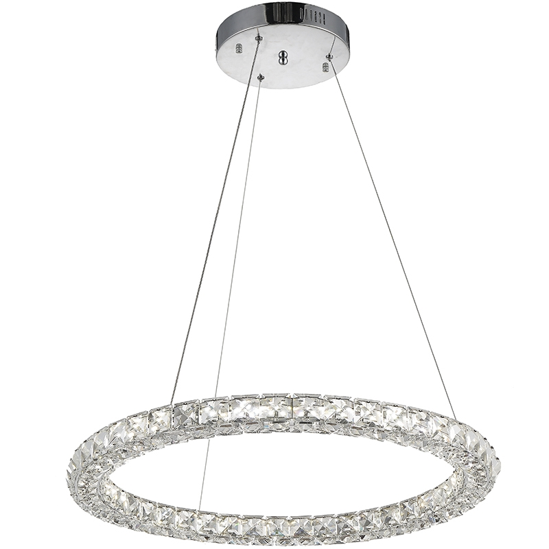 134.90$  Buy now - http://alika6.worldwells.pw/go.php?t=32697273120 - VALLKIN Home Round LED Pendant Light Clear K9 Crystal and Silver Stianless Steel D50CM 24W CE FCC ROHS