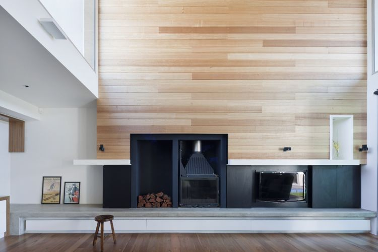 Richmond House Strips Back The Original And Reinterprets The Lean To Freestanding Fireplace Fireplace Design Contemporary Fireplace