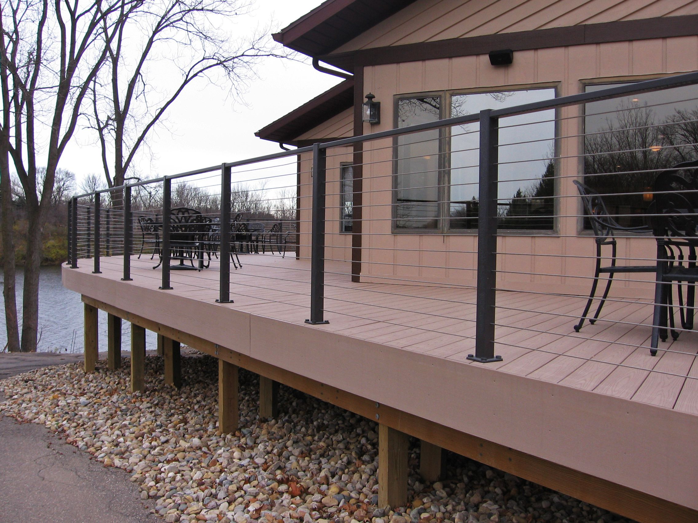 Cable Deck Rail Bronze Aluminum Top Mounted Posts And