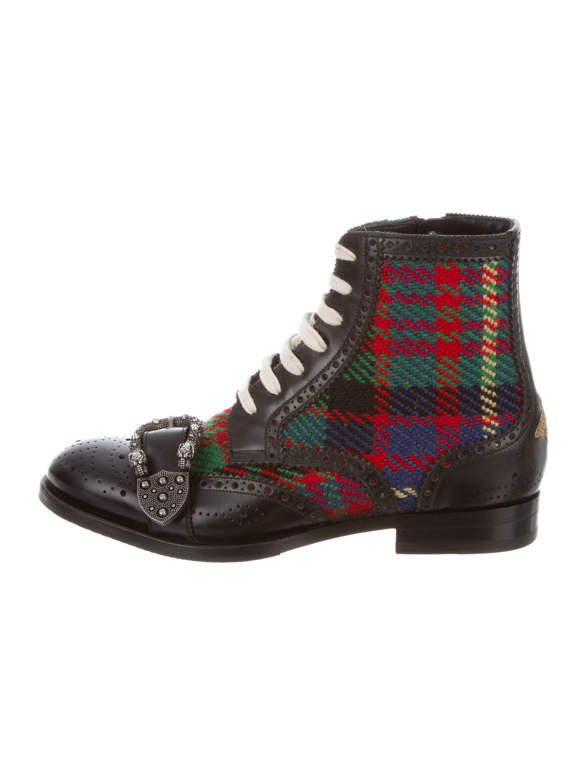 4ba26a157 Men's black and multicolor leather and tweed Queercore Brogue round-toe  ankle boots boots with plaid pattern throughout,gucci#Queercore #tweed#leather