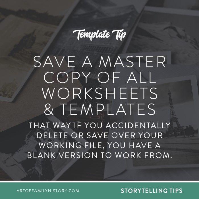 Template Tip! Save A Master Copy Of All Worksheets