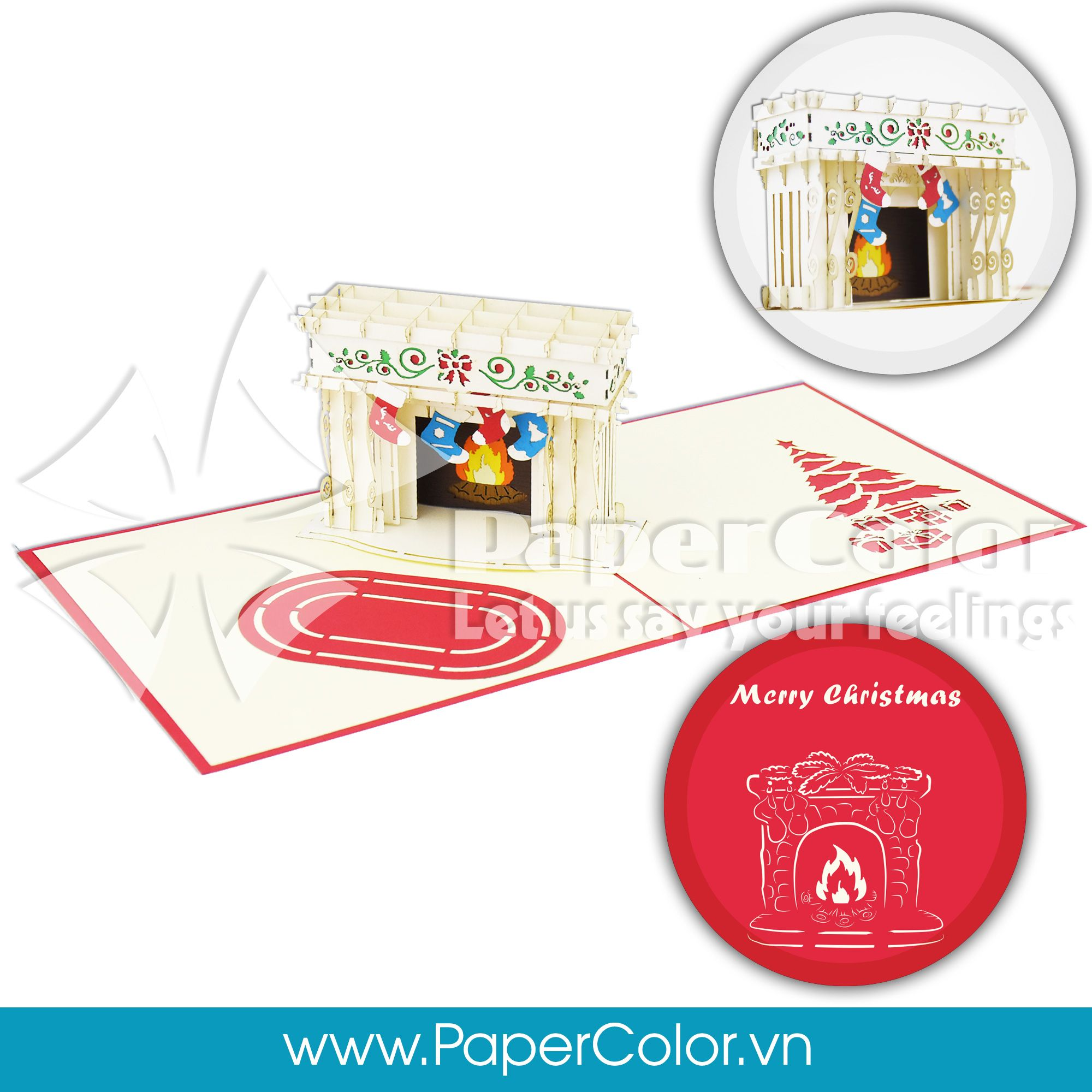 Christmas Fireplace 3d Pop Up Greeting Card Paper Color Pop Up