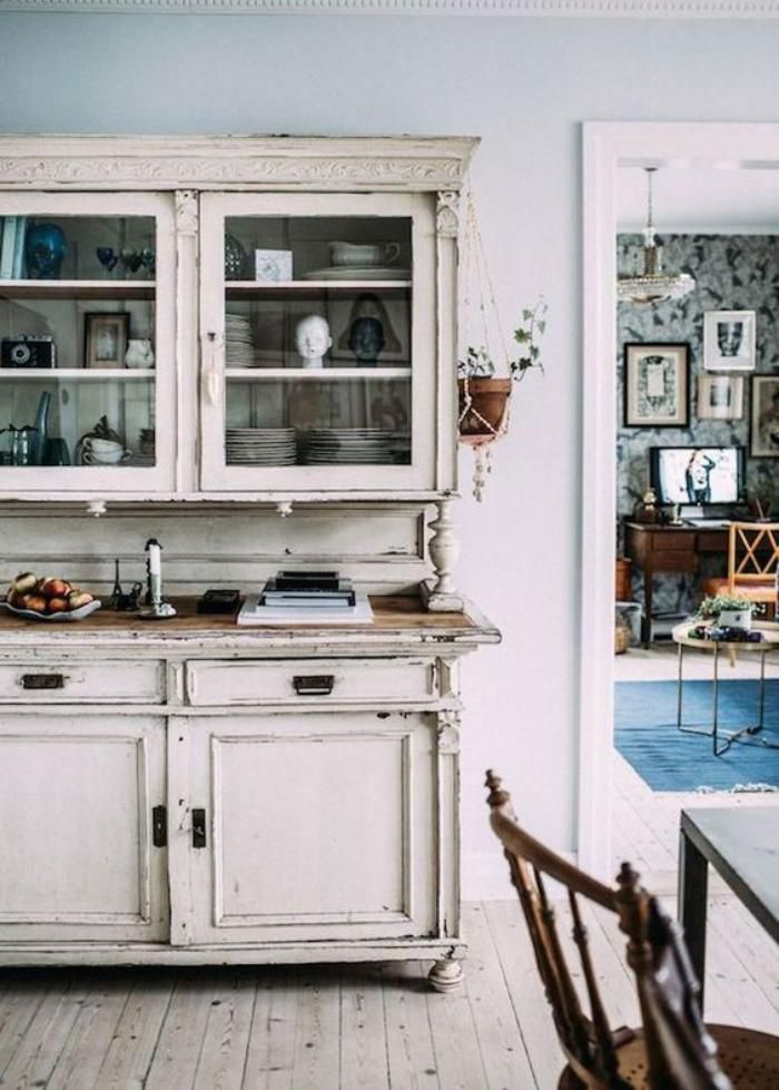 buffet salle manger ancien vaisselier blanc avec vitrine