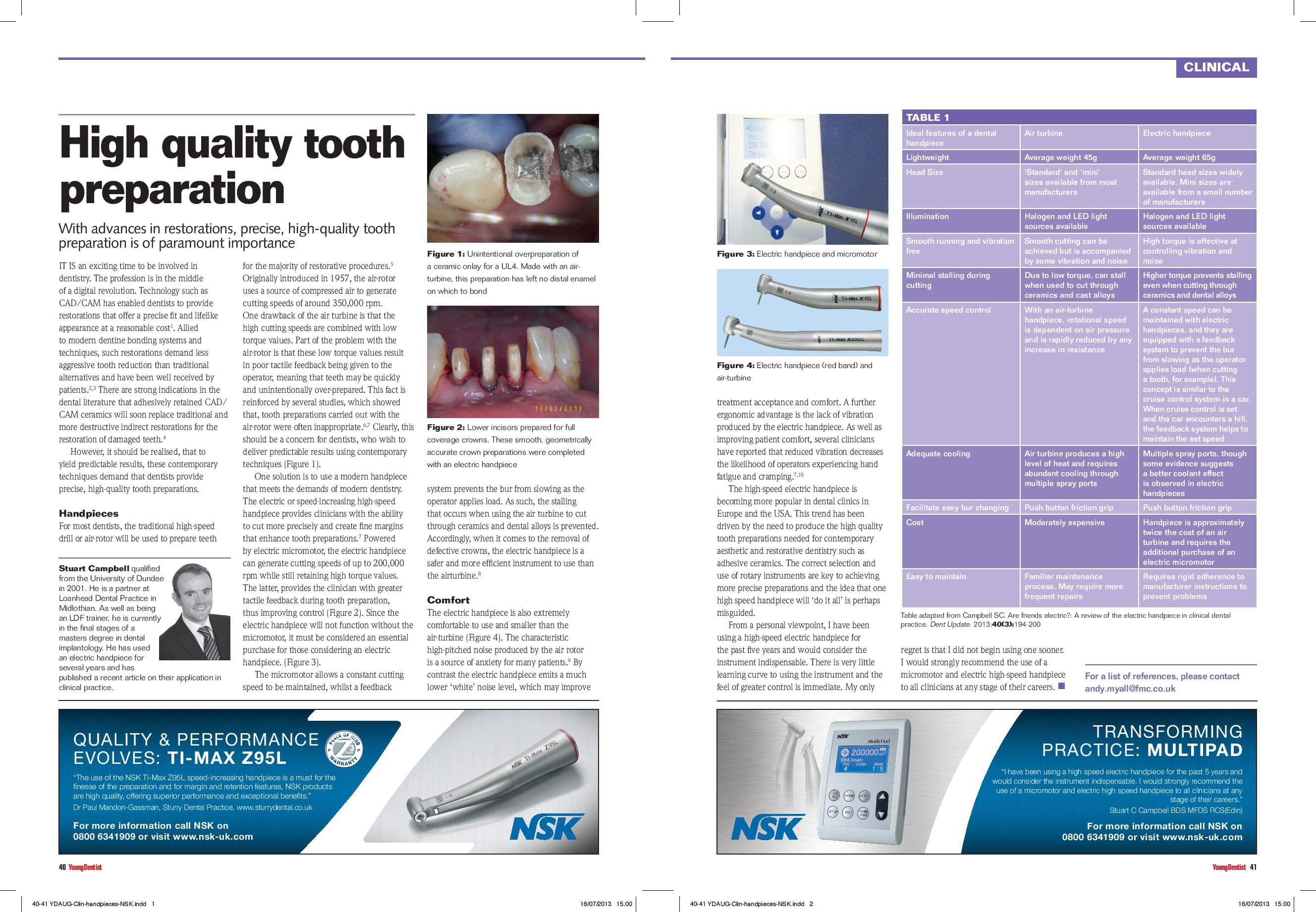 High quality tooth preparation, Young Dentist, September
