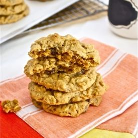 Oatmeal Peanut Butter Dark Chocolate Raisinette Cookies are two soft, chewy, delicious cookies in one!