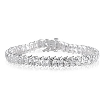 1 Carat Round Baguette Natural Diamond Twist Bangle Bracelet Sterling Silver Twisted Bangle Sterling Silver Bracelets Diamond