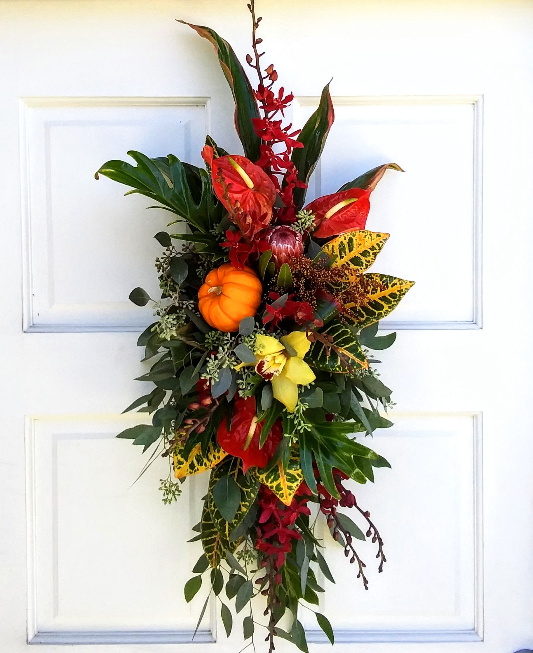 Thanksgiving Door Swag Decoration Flowers Pumpkins Orchids