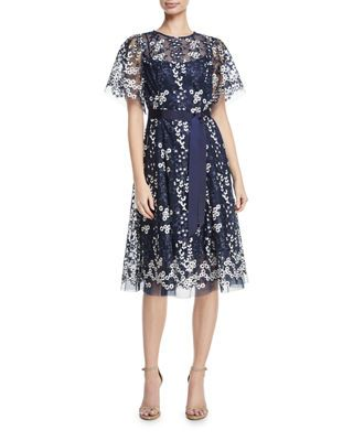 ac1d053e5d Rickie Freeman For Teri Jon Floral Embroidered Tulle Midi Cocktail Dress