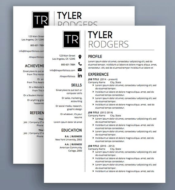 Resume Template CV Template Cover Letter by ThePortfolioCompany - resume microsoft word template