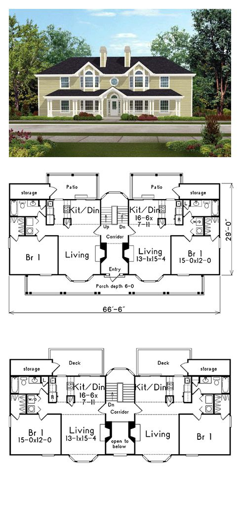 Country Style Multi Family Plan 87348 With 4 Bed 4 Bath Family House Plans Duplex House Plans Country House Plans