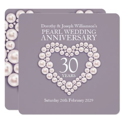 Pearl Wedding Anniversary 30 Years Party Invites Zazzle