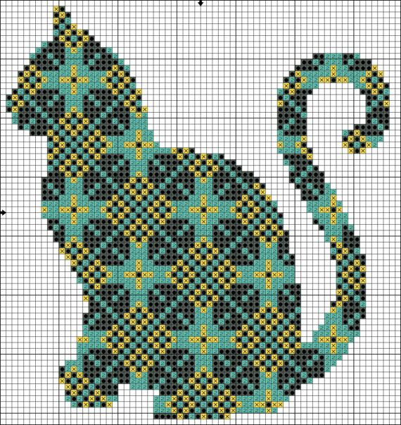 Photo of Cross Stitch Pattern Cat with Ornament Instant Download PDF Counted Chart
