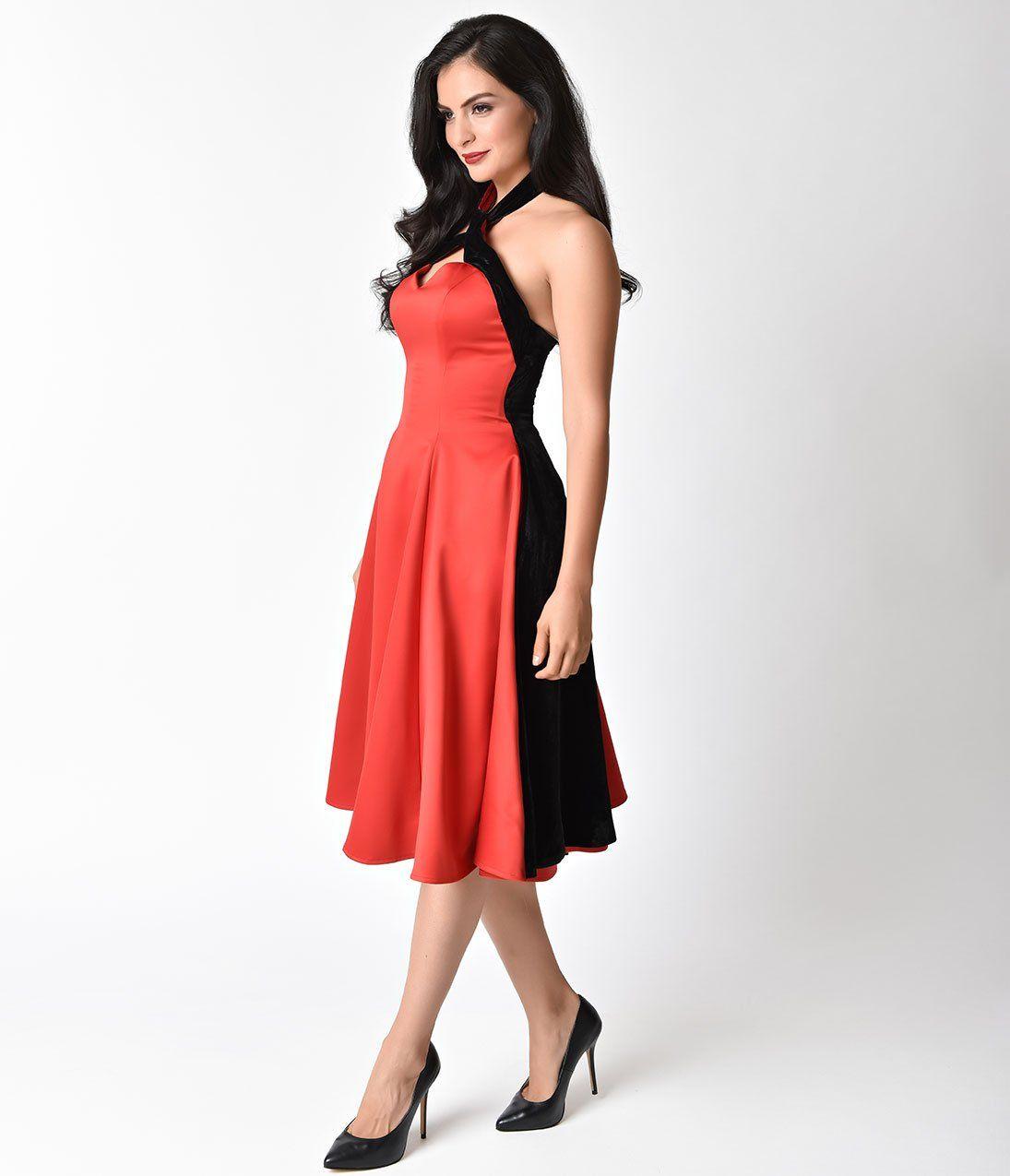 71e7caf4e3b Janie Bryant For Unique Vintage Red   Black Sateen Velvet Halter Madis