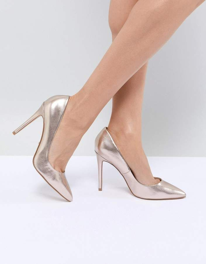 13514add9e2 Faith Chloe Rose Gold Pointed Heeled Shoes