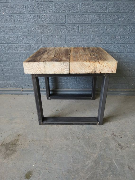 Wood And Metal Bedside Table: Industrial Chic Style Reclaimed Custom Bedside Side Table