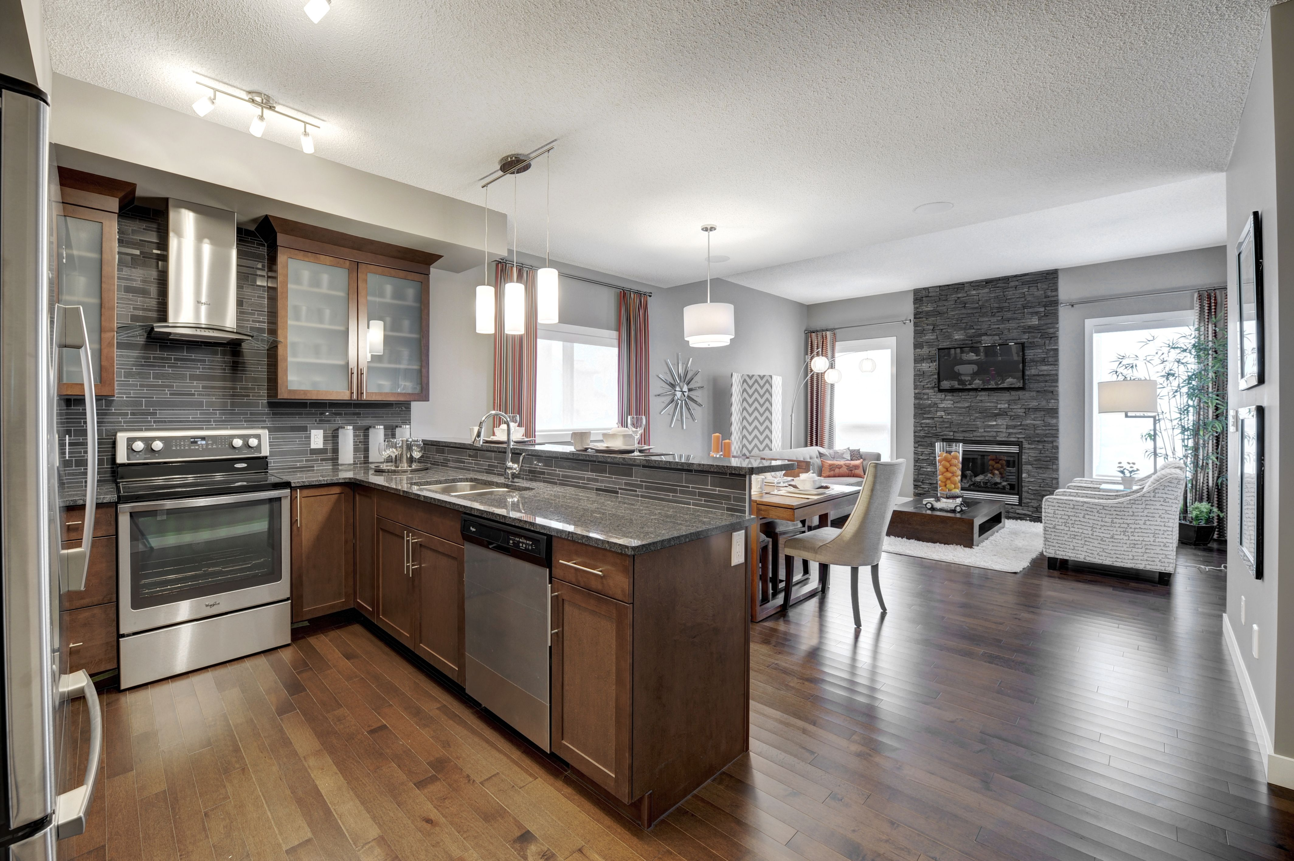 beautiful kitchen with hardwood maple floors and stained maple