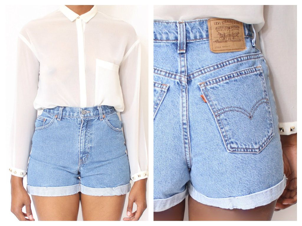 Pin By Paulins23 On Jeans Troussers And Shorts Vintage High Waisted Shorts High Waisted Shorts Denim High Waisted Jeans Vintage