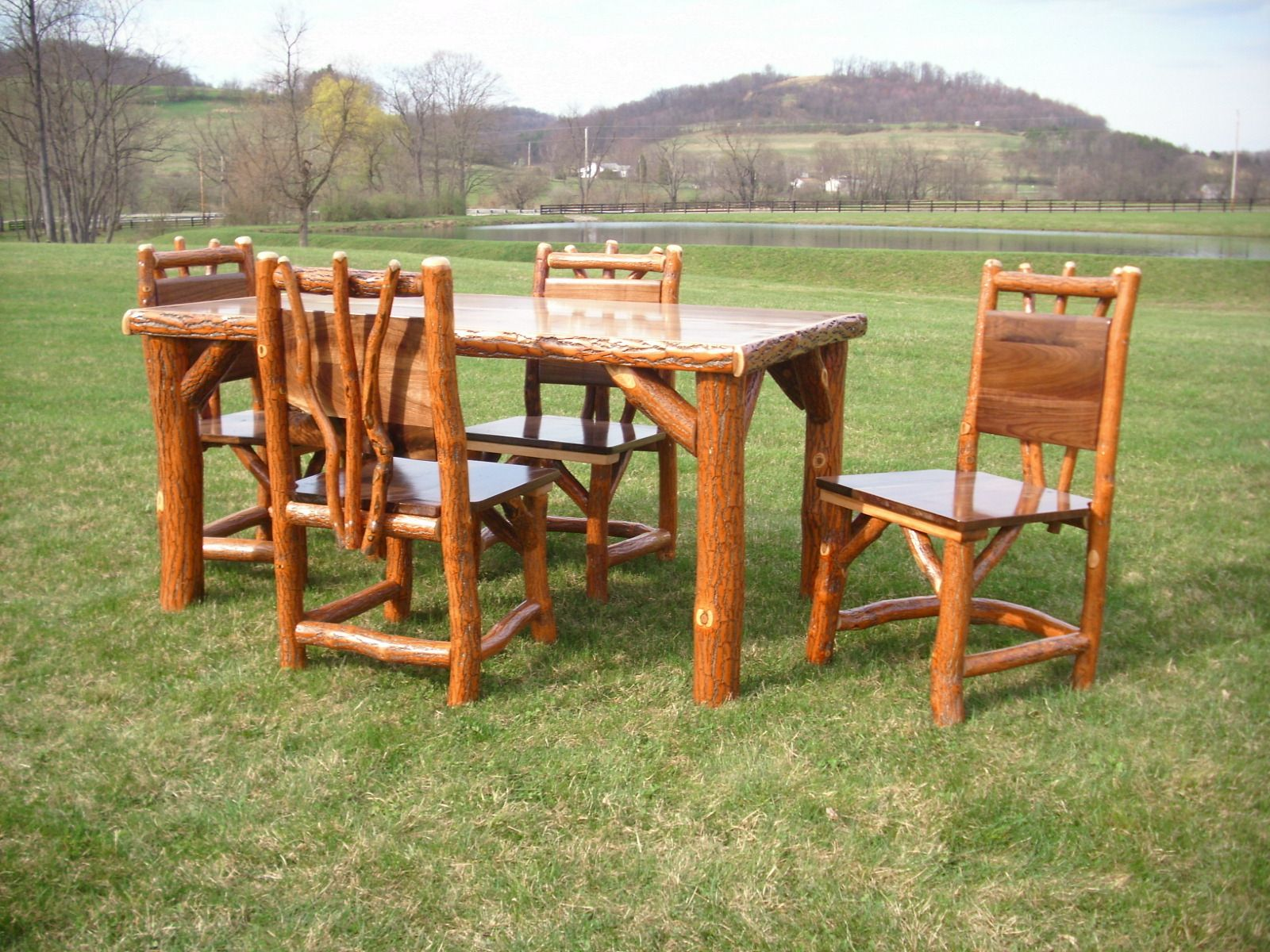 log rustic furniture amish. Rustic Log Sassafras Table And Chairs Set With Walnut Top. Amish Made In The USA Furniture
