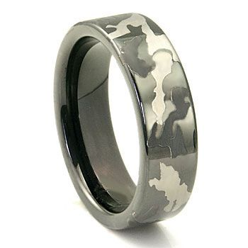 Black Tungsten Carbide 7mm Military Camouflage Wedding Ring In 2019