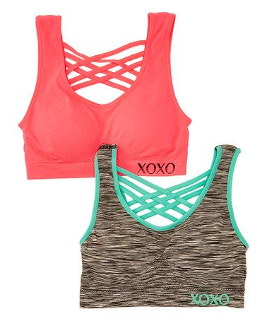 Look at this #zulilyfind! Black & Wild Watermelon Cross-Back Sports Bra Set #zulilyfinds
