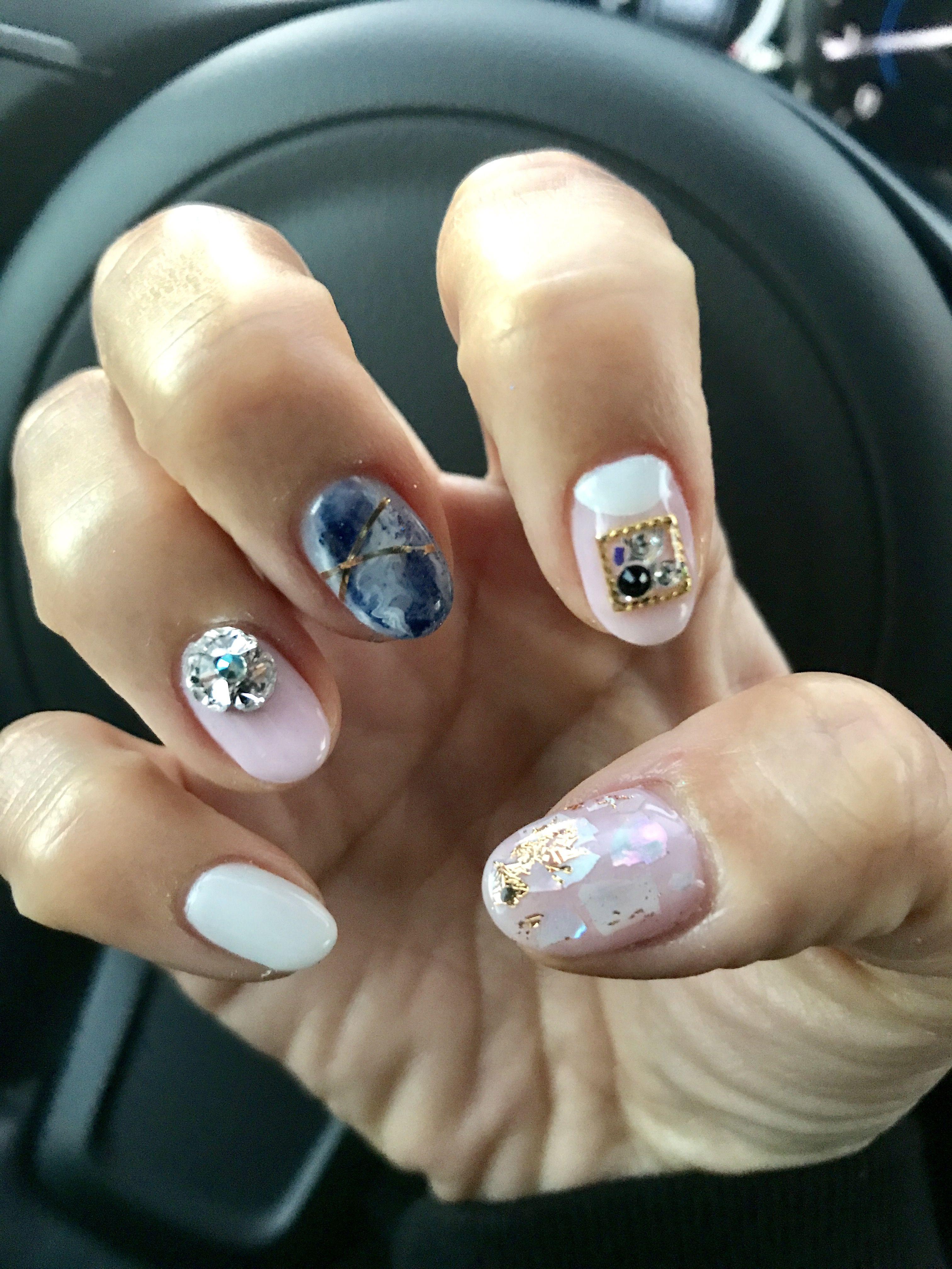 Korean gel nail design - pink, white, blue marble, glitter, hologram ...
