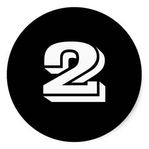 Two Large Round Black Number Stickers by Janz