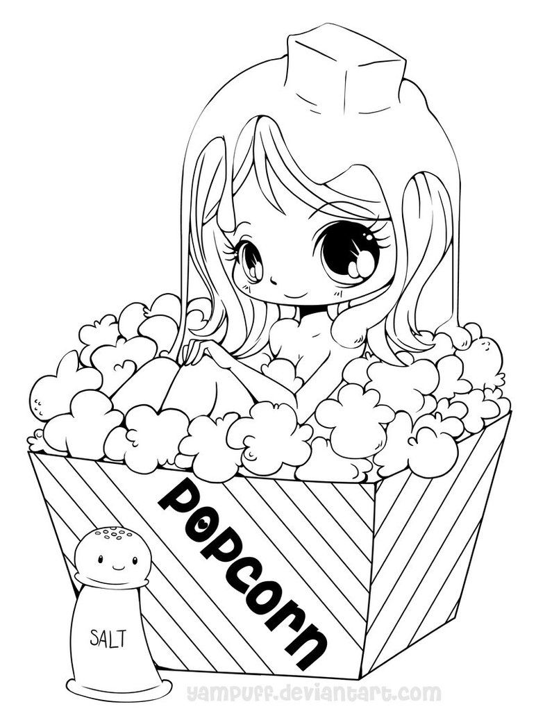 Popcorn Girl Lineart By Yampuff On Deviantart Chibi Coloring Pages Princess Coloring Pages Cartoon Coloring Pages