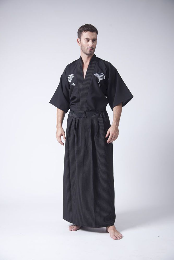 Japanese Kimono Robe Suit Men Yukata Samurai Clothing ...