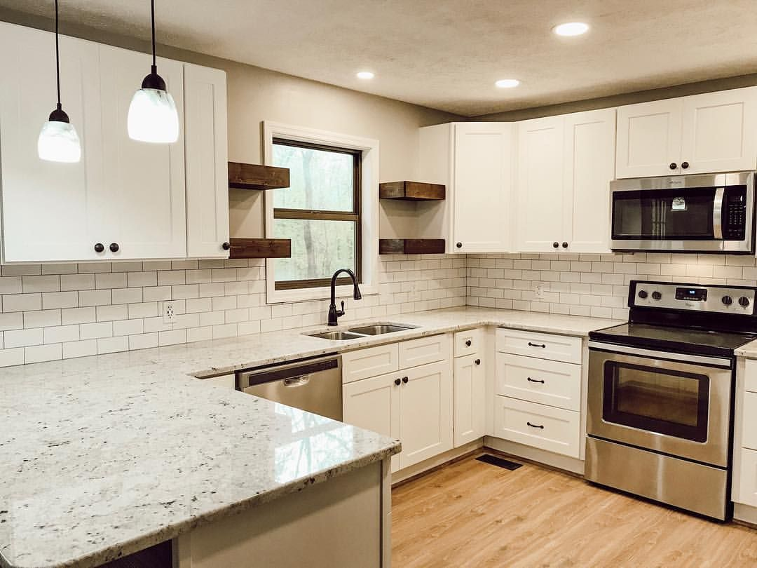 Kitchen Renovation White Shaker Cabinets Subway Tile Granite