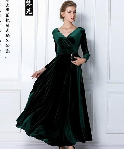 ed306c91aab622 Velvet Warm Dress XXL 3XL Dresses Plus size Winter Ankle Length Maxi  Casual. 2018 Women Plus Size Velvet Long Sleeve Maxi Dress Evening Party  Vintage Dress
