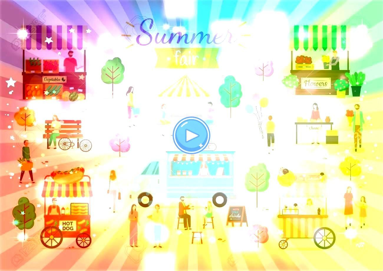 man and woman eating hotdogs under umbrella shade flowers in pots ice cream sweets cold dessert kid with balloon Summer fair activities vector man and woman eating hotdog...
