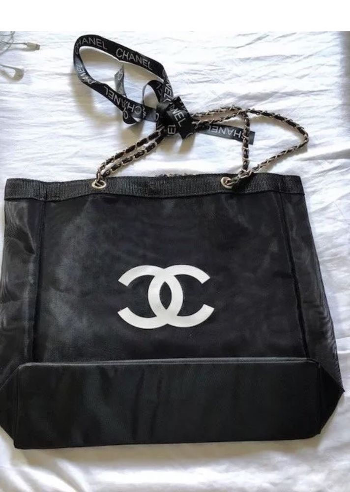Chanel Beauty Vip Gift Mesh Tote Beach Bag Large Gold Tone Chain New Fashion Clothing Shoes Accessories Womensbagshandbags Ebay Link
