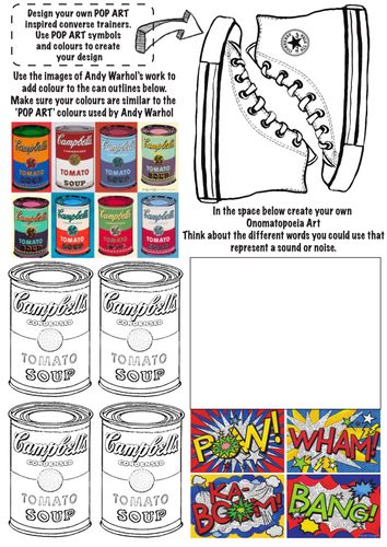 Book Cover Drawing Lessons : Pop art worksheet with multiple tasks and crafts for