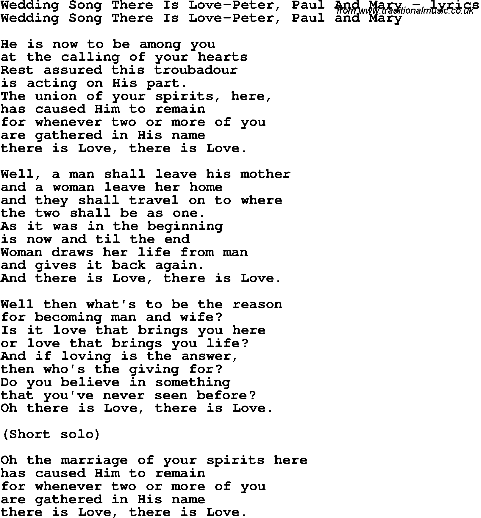 Love Song Lyrics For Wedding There Is Peter Paul And Mary