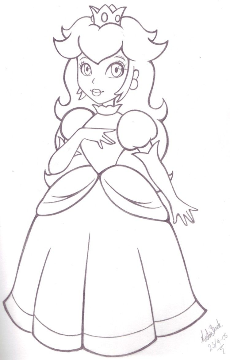 Princess Peach By Blueundine On Deviantart Super Mario Coloring Pages Princess Coloring Pages Mario Coloring Pages
