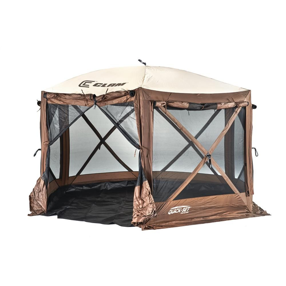Clam quickset pavilion browntan roof camper screen