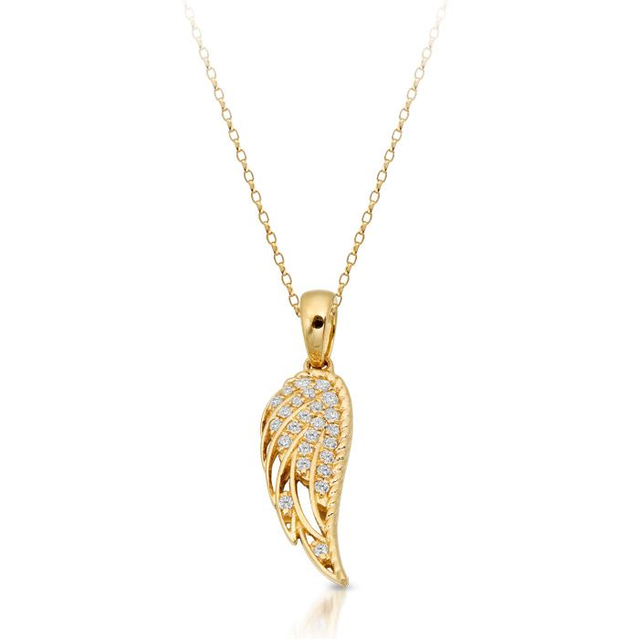 Yellow gold angel wings pendant with a little but of sparkle yellow gold angel wings pendant with a little but of sparkle stone set angel wings mozeypictures Choice Image